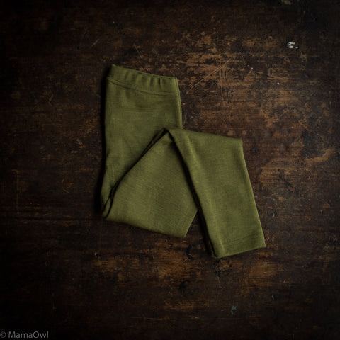 Exclusive Organic Silk & Merino Kids Leggings - Moss