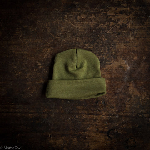 Exclusive Organic Silk & Merino Baby Hat - Moss