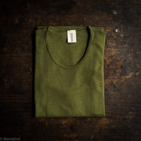 Exclusive Organic Silk & Merino Wool Women's LS Top - Moss