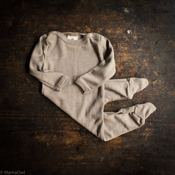 Exclusive Organic Silk & Merino Footed Pyjamas - Dune