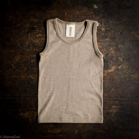 Exclusive Organic Silk & Merino Kids Sleeveless Top - Dune