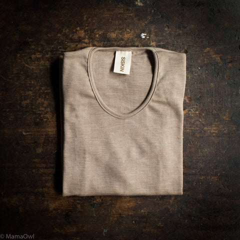 Exclusive Organic Silk & Merino Wool Women's LS Top - Dune
