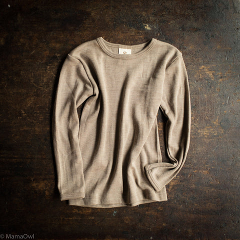Exclusive Organic Silk & Merino Kids LS Top - Dune