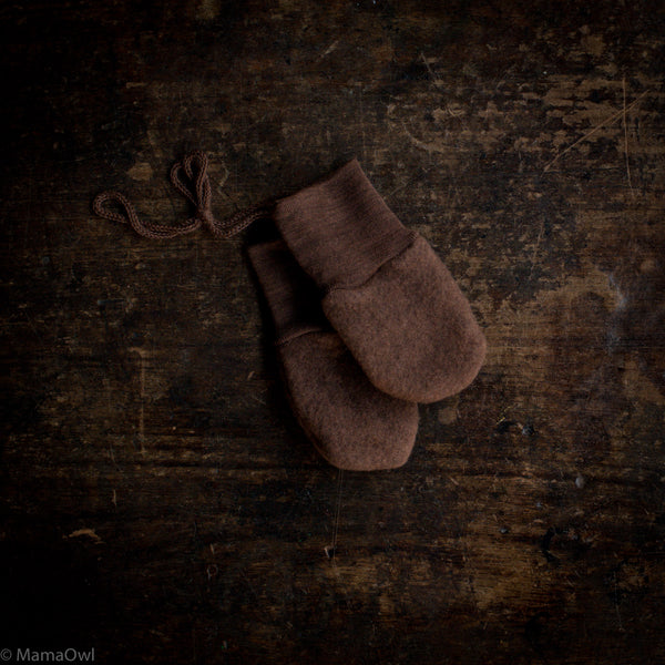 100% Organic Merino Wool Fleece Mittens - Squirrel