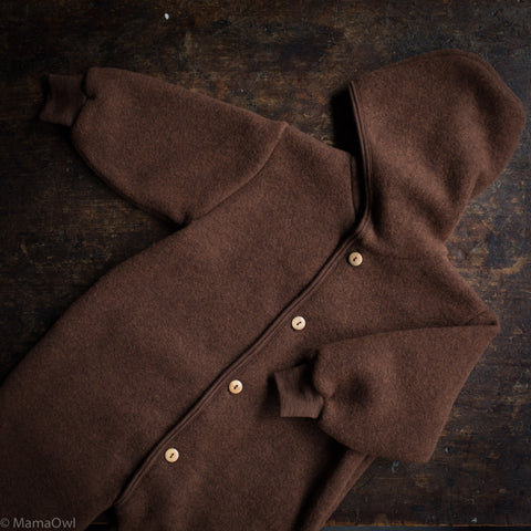 Exclusive 100% Organic Merino Wool Fleece Suit - Squirrel