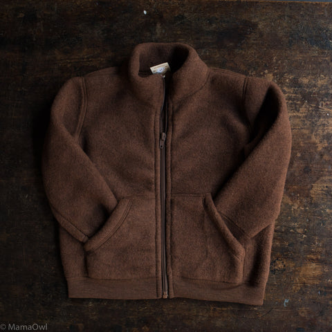 Exclusive 100% Organic Merino Wool Zip Fleece Jacket - Squirrel