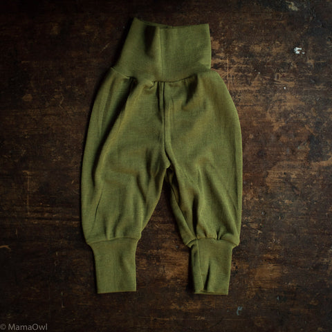 Exclusive Organic Silk & Merino Baby Pants - Moss