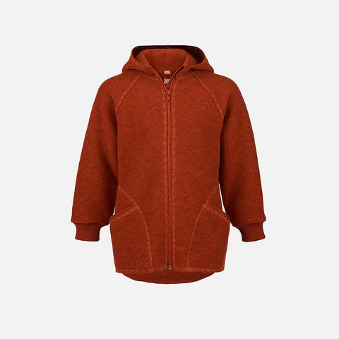 Organic Boiled Wool Zip Jacket - Magma