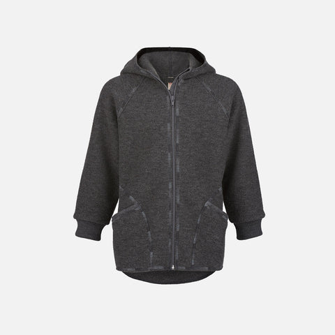 Organic Boiled Wool Zip Jacket - Lava