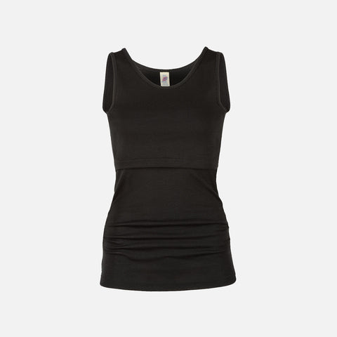 Organic Merino Wool/Silk Nursing Top - Black