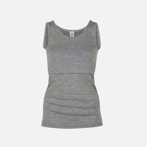 Organic Merino Wool/Silk Nursing Top - Grey