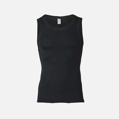 Organic Silk & Merino Wool Men's Sleeveless Vest - Black