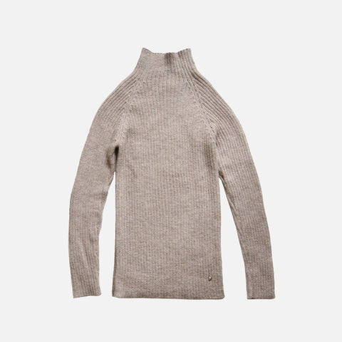 Women's Alpaca Erica Rib Sweater - Pebble