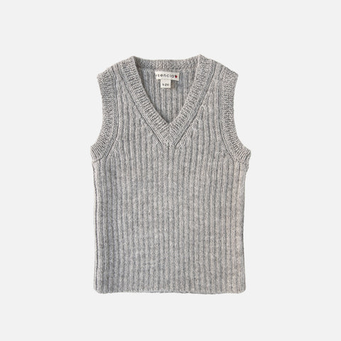 Alpaca V-Neck Vest Robert - Dove