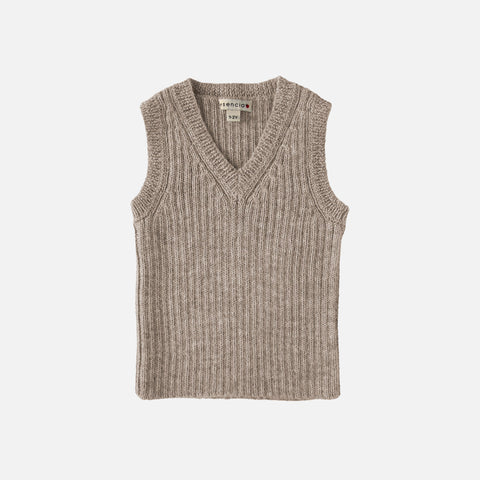 Alpaca V-Neck Vest Robert - Pebble
