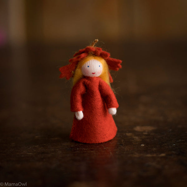 Handmade Small Wool Flower Fairy - Autumn Leaf