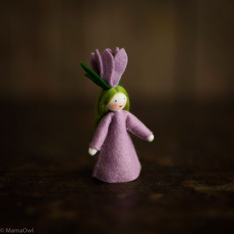 Handmade Small Wool Flower Fairy - Crocus
