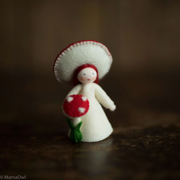 Handmade Small Wool Flower Fairy - Red Mushroom