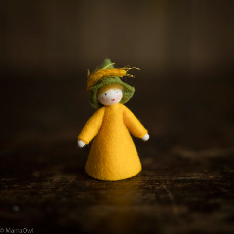 Handmade Small Wool Flower Fairy - Wheat