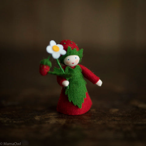 Handmade Small Wool Fairy With Flower - Strawberry Boy