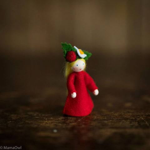 Handmade Small Wool Flower Fairy - Strawberry