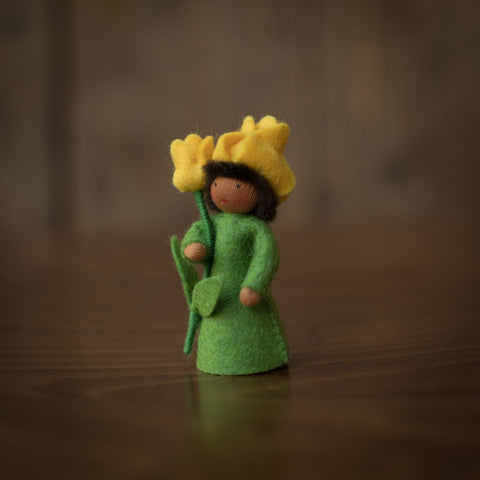 Handmade Small Wool Fairy Holding Flower - Yellow Tulip