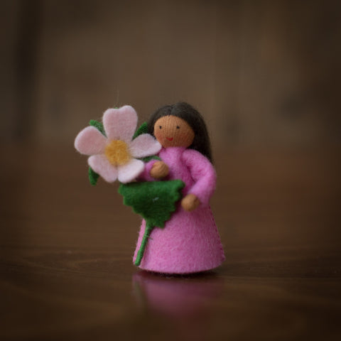 Handmade Small Wool Fairy Holding Flower - Sweet Briar