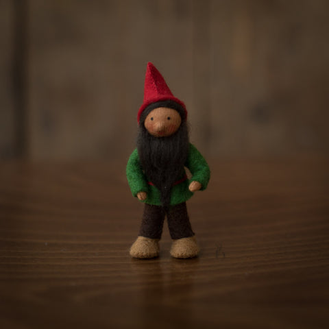Handmade Small Pocket Gnome - Spruce - Brown