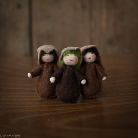 Handmade Set of 3 Small Wool Seed Babies