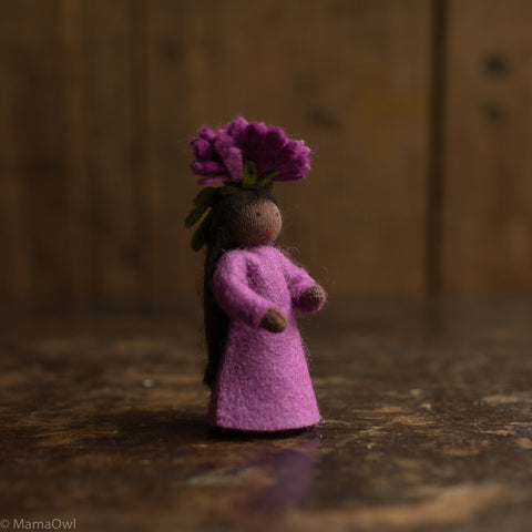 Handmade Autumn Wool Fairy - Michaelmas Daisy Girl