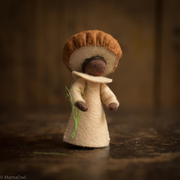 Handmade Small Wool Flower Fairy - Brown Mushroom