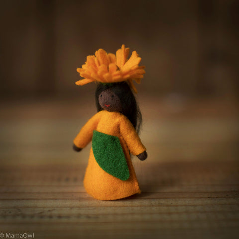 Handmade Autumn Wool Fairy - Calendula - Black