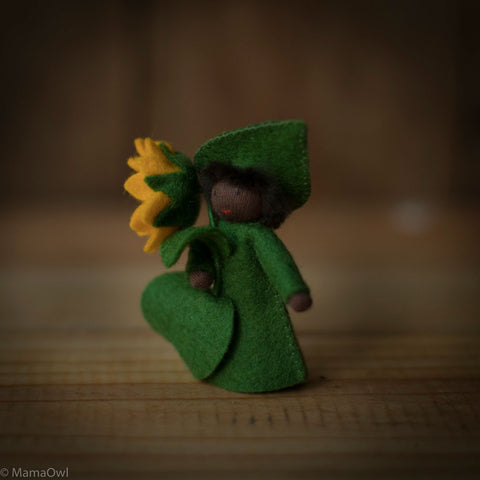 Handmade Small Wool Fairy With Flower - Sunflower