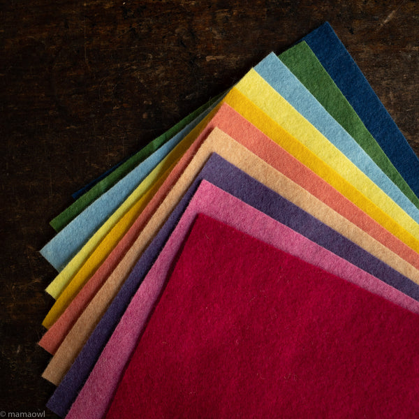 Large Organic Wool Felt Sheets - Bold Colours