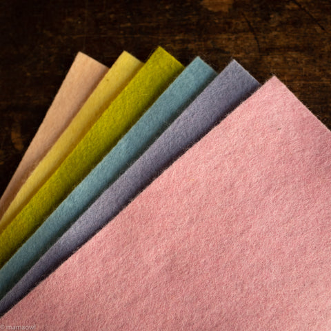 Small Organic Wool Felt Sheets - Pastel Colours