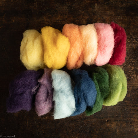 Organic Plant Dyed Felting Wool - Mixed Colours