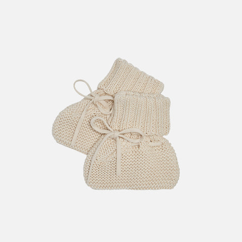Organic Cotton Baby Booties - Ecru