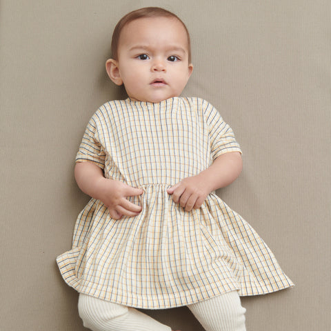 Organic Cotton Checked Baby Dress - Ecru/Desert Sun