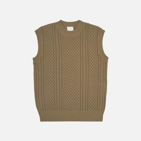 Women's Organic Cotton Cable Vest - Camel