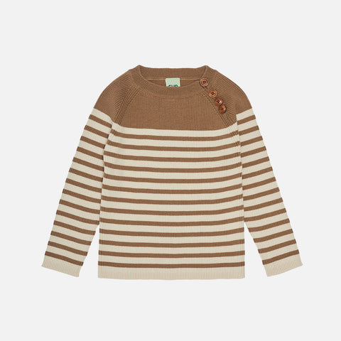Organic Cotton Sweater - Camel/Ecru