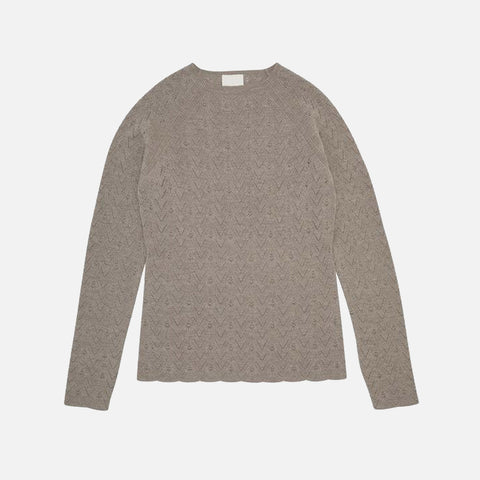Women's Merino Wool LS Top - Beige Melange