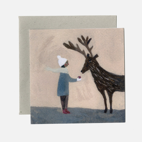 Greeting Card - An Apple For Reindeer