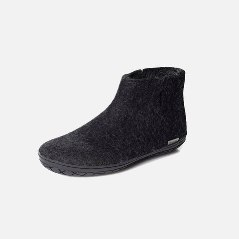 Adults Felted Wool Slipper Boot With Black Rubber Sole - Charcoal