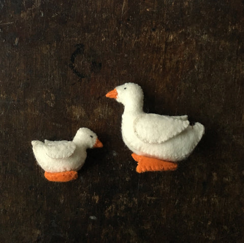 Handmade Wool Felt White Duck