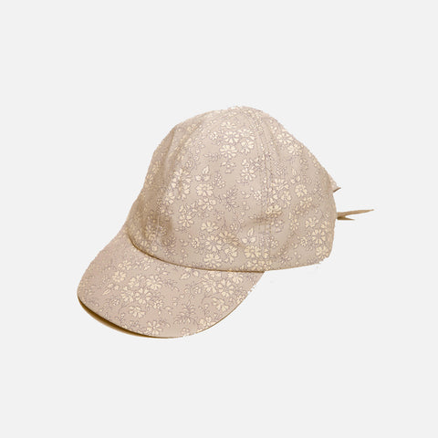 Cotton Cap With Bow - Liberty Print Camel