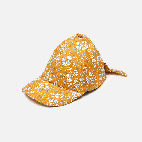 Cotton Cap With Bow - Liberty Print Mustard