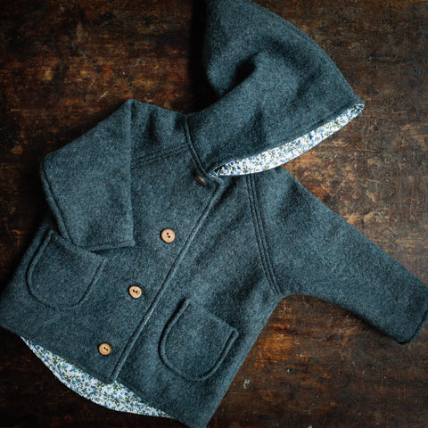 Exclusive Spring/Autunm Wool Pixie Hooded Jacket   - Misty Blue