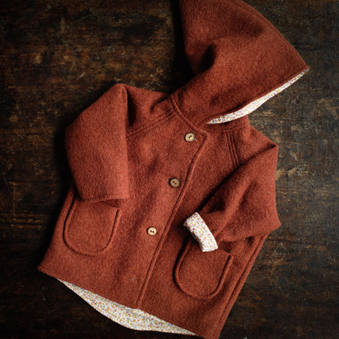 Exclusive Spring/Autunm Wool Pixie Hooded Jacket - Terracotta