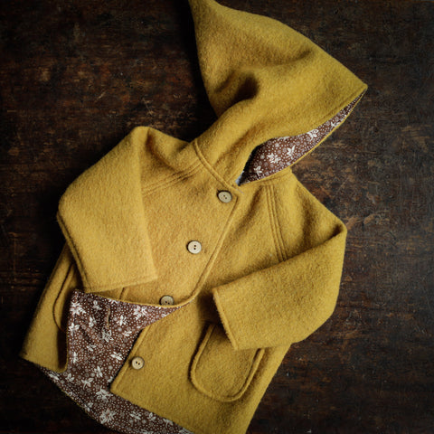 Exclusive Spring/Autunm Wool Pixie Hooded Jacket  - Ochre