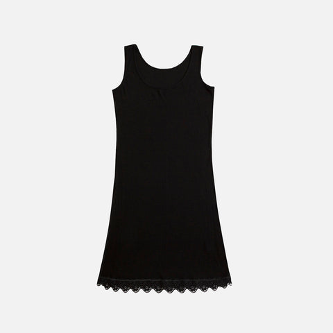 Women's Wool/Silk Lace Nightdress - Black